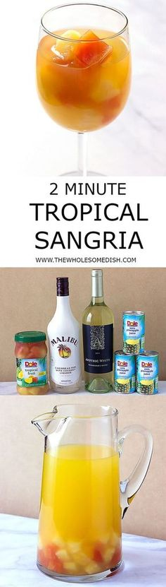 2 Minute Tropical Sangria - A simple tropical sangria recipe that can be made in minutes, made with Malibu coconut rum, pineapple juice, white wine, and mixed tropical fruit. via (Pour Wine Sangria Recipes) Party Drinks, Cocktail Drinks, Fun Drinks, Yummy Drinks, Healthy Drinks, Alcoholic Drinks, Malibu Drinks, Liquor Drinks, Juice Drinks