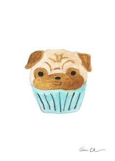 Pug Cupcake - Pug Art Print