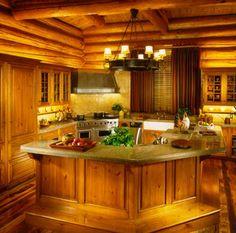 Aspen log home kitchen inspiration.
