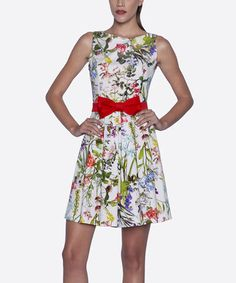 White & Red Floral Belted Fit & Flare Dress by Elfe #zulilyfinds
