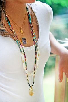 Long beaded turquoise necklaces