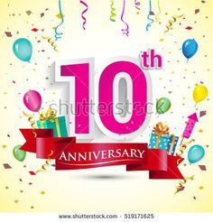 10th Year Anniversary Celebration Design, with gift box and balloons, red ribbon, Colorful Vector template elements for your birthday party.
