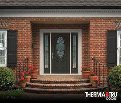 Ordinaire Therma Tru Smooth Star Fiberglass Door Painted Laurel Woods With Arden  Decorative Glass.
