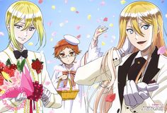 The Royal Tutor (王室教師ハイネ)Leonhardt, Heine, and Richt are dressed for a dream wedding in this white-themed poster from Otomedia Magazine (Amazon US | eBay) illustrated by key animator Mariko Fujita (藤田まり子). Royal Tutor, Royal Palace, Anime Prince, Teacher, King, Princess Zelda, Manga Art, Anime Stuff, Vocaloid