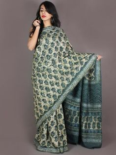 Tussar Handloom Silk Hand Block Printed Saree in Pine Green & Ivory - S03170954