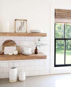 Neutral Kitchen, Boho Kitchen, Home Decor Kitchen, Kitchen Interior, Home Kitchens, Diy Home Decor, White Tile Kitchen, Decorating Kitchen, Kitchen Ideas