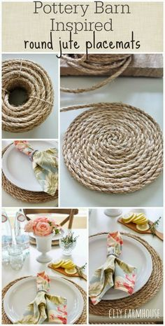 DIY Farmhouse Style Decor Ideas for the Kitchen - Pottery Barn Inspired Round Ju.DIY Farmhouse Style Decor Ideas for the Kitchen - Pottery Barn Inspired Round Jute Placemats - Rustic Farm House Ideas for Furniture, Paint Colors, Fa. City Farmhouse, Farmhouse Kitchen Decor, Farmhouse Style Decorating, Farmhouse Ideas, Farmhouse Placemats, Country Farmhouse, Farmhouse Pottery, Kitchen Placemats, Farmhouse Coasters