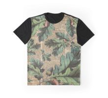Graphic T-Shirt Oak Tree Leaves And Acorns, Autumn Vintage Dictionary Art Moro
