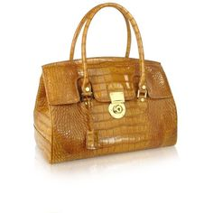 L.A.P.A. Handbags Camel Croco Stamped Genuine Leather Satchel Bag ($890) ❤ liked on Polyvore featuring bags, handbags, handbag purse, leather satchel purse, brown leather handbags, brown purse and crocodile leather handbags