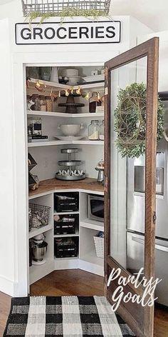 Kitchen Pantry Shelf Refrigerator Room Furniture Home Interior Door Smart Kitchen, Small Kitchen Pantry, Kitchen Pantry Design, Kitchen Pantry Cabinets, Kitchen Redo, Home Decor Kitchen, Kitchen Remodel, Kitchen Floor, Farm Kitchen Ideas