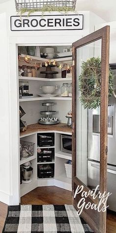 Kitchen Pantry Shelf Refrigerator Room Furniture Home Interior Door Kitchen Pantry Design, Kitchen Pantry Cabinets, Smart Kitchen, Kitchen Redo, Home Decor Kitchen, Home Kitchens, Kitchen Remodel, Corner Kitchen Pantry, Kitchen Floor