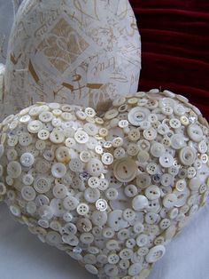 Button Heart. ~ I used to make these in the early 90's and sewed ea button on by hand. A true labor of love...
