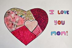 This Mothers Day, make a Mother's Day present that will show mom just how much you love her! Use a selection of pink craft material to fill this I Love You Mother's Day Collage and add some bling with flower rhinestones. Diy Mother's Day Presents, Mothers Day Presents, Mother Day Gifts, I Love You Mother, Mother And Child, Pink Crafts, Mothers Day Crafts For Kids, Collage, Mom Day