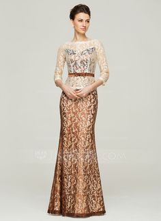 Trumpet/Mermaid Scoop Neck Floor-Length Lace Mother of the Bride Dress With Bow(s) (008062560) - JJsHouse