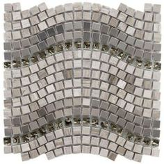Merola Tile Tessera Wave 12-1/4 in. x 11-3/4 in. Gray Mesh-Mounted Mosaic Tile