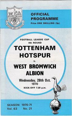 Vintage Football (soccer) Programme - Tottenham Hotspur v West Bromwich Albion, 1970/71 season #football #soccer