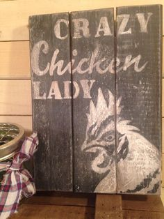 Primitive Rustic Pallet•CRAZY CHICKEN LADY•COOP•Country Handmade•GIFT•Sign Decor #Handmade #RusticPrimitive