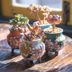 Set of 4 -Beautiful Flower Style,terracotta Planter,Ceramic Planter,Succulent Planter, Succulent Pot Succulent Pots, Planting Succulents, Cacti Garden, Succulent Care, Ceramic Planters, Planter Pots, Ceramic Decor, Hanging Planters, Mini Vasos