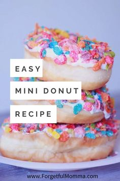 The perfect Mini Donut recipe! These cute Simple Mini Donuts are easy to make and no frying mess here. These are made in a mini donut maker. Baked Mini Donuts Recipe, Mini Donut Maker Recipes, Easy Donut Recipe, Mini Doughnuts, Doughnut Cake, Babycakes Donut Maker, Healthy Dessert Recipes, Delicious Desserts, Snack Recipes