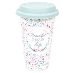 This floral print china travel mug is so pretty! And perfect for any mum on the go! - Kri Gandzumian - Pin To Travel Sharpie Mug Art, Cute Water Bottles, Drink Bottles, Book Sculpture, Art Lessons Elementary, Cute Mugs, China Travel, Pottery Painting, Mug Designs