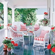 Red and white cottage style porch