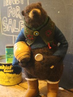 "Needle Felted Bear "" Bear Necessities "" OOAK by OkieFolky on Etsy"