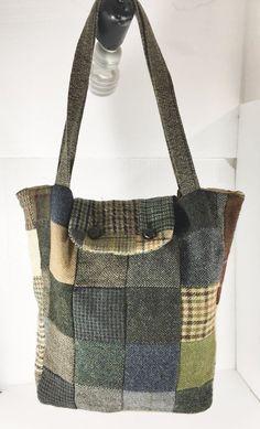 Hanna Hats Irish Wool Patchwork Tote Shoulder Bag Handbag Donegal Ireland #HannaHats #TotesShoppers
