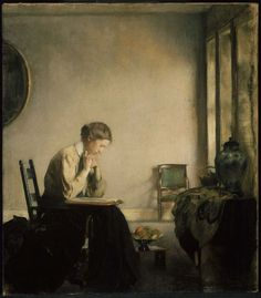 Edmund Charles Tarbel, 'Girl Reading', 1909, 81.91 x 72.39 cm. Museum of Fine Arts, Boston.