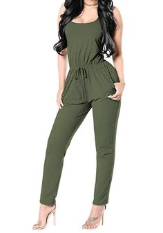 6197f73a48c6dd Womens Sleeveless Sexy Playsuit Back Cross High Waisted Club Cocktail  Jumpsuits Rompers - Army Green - CY184UTDL0G