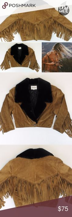 """Vtg Neiman Marcus Fur Suede Fringe Jacket Sz Small Strong shoulders are on-trend this season, and this suede fringe western-inspired jacket sure delivers! Rich, supple suede is accompanied by luscious mink fur. This jacket is a vintage dream and has been carefully preserved throughout the decades.  Chest - 19"""" // Bottom opening - 16"""" // Sleeve length 21"""" (bracelet length) // 8"""" fringe along entire armspan  Label - Neiman Marcus // Quilted lining // Shoulder pads // Notched mink fur collar…"""