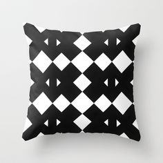 Branting Black & White Pattern Throw Pillow by Stoflab