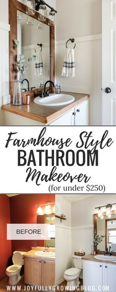 A Farmhouse Style Powder Room / Bathroom Makeover on a Budget | Get all the details on how this bathroom was transformed for under $200 using wallpaper, paint and some creative DIYs #BathroomMakeover #Farmhousebathroom