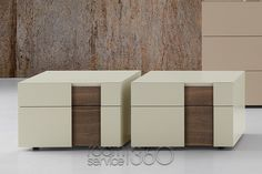 Beige Seta Inside Nightstands with Tobacco Oak Inserts (In Stock) by Presotto