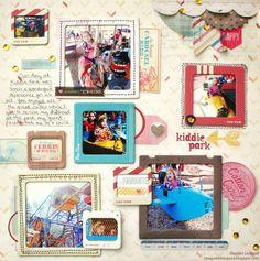 Kiddie Park San Antonio Scrapbook Layout by Heather Leopard: Gossamer Blue and Crate Paper The Pier Amusement Park #scrapbooking #scrapbook