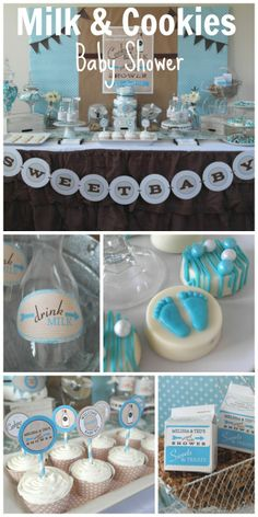 Sweet milk & cookies baby shower ideas! Love the milk carton party favors! See more party ideas at CatchMyParty.com. #babyshowerideas #milk&cookies