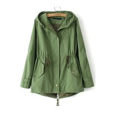SheIn(sheinside) Green Hooded Drawstring Pockets Trench Coat (55 NZD) ❤ liked on Polyvore featuring outerwear, coats, green, green hooded coat, short coat, short trench coat, hooded trench coat and drawstring coat