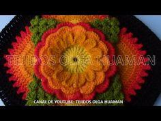 flor tejido en ganchillo - YouTube