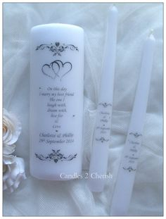 Unity Candle Set Personalised Unity Candle by Candles2Cherish