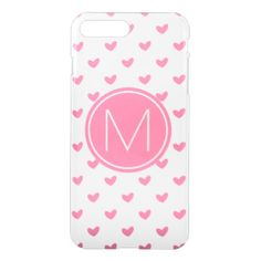 Elegant Valentine pink white tiny heart pattern iPhone 8 Plus/7 Plus Case - heart gifts love hearts special diy