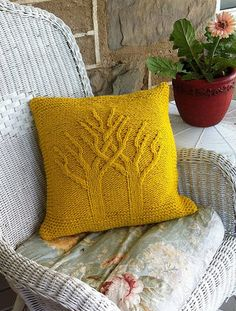 Knitting Pattern for Two Become One  Pillow - This pillow features two intertwined cable trees. Makes a great wedding pillow or gift. tba wedding