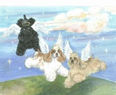 Cocker Spaniel angel wing art print by CockerSpanielArt on Etsy, $34.95
