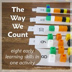 The Way We Count: Eight Early Learning Skills in One Activity - I LOVE this idea from www.forthisseason.com and plan on using this for one of my 3 year old's learning bins.