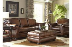 Vintage Autumn Leather Sofa from Haverty's