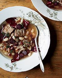Duck Confit and White Bean Stew - Erin French, The Lost Kitchen. This easy take on the laborious French classic cassoulet has just three steps. Radicchio stirred in at the end adds a fresh bite.