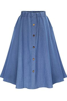 Solid+Color+Button+Up+Elastic+Waist+Retro+Midi+Skirt+#Solid+#Skirt+#maykool