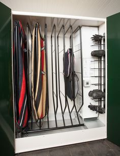 Drying Cabinet for horseblankets. Fold down the hanger for easy use. Carlund Horse Equipment AB