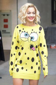 Rita Ora rocks an ah-mazing Spongebob Moschino outfit Rita Ora, Beach Wave Hair, Beach Waves, Normcore, Oras, Facon, Swagg, Pulls, Her Style