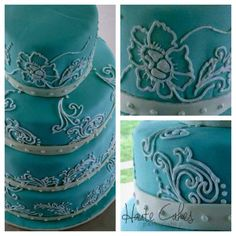 Wedding Cake | Tiffany Blue & Hand Piped Flowers | Haute Cakes Pastry Shop | DC & Northern VA Bakery