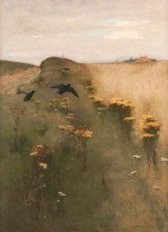Thomas Millie Dow (Scottish, 1848-1919) Ragweed and Crows, 1882. Oil on canvas.