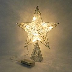 White Flickering Tree Top Star with Warm White LED Lights for Christmas Ornaments and Holiday Seasonal Dcor 8Inch >>> Want additional info? Click on the image. (This is an affiliate link) #SeasonalDecor
